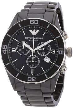 Emporio Armani Men's AR1421 Ceramic Black Chrnongraph Dial Watch: Watches: Amazon.com