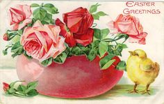 Free vintage Easter cards with flowers