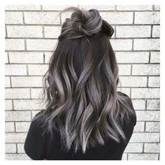 "Smoky Gray Ombré Hair Is the ""It"" Hair Dye to Try for Fall ❤ liked on Polyvore featuring hair"