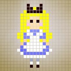 Alice in Wonderland perler bead pattern designed by Rosealine_Black