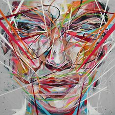 These vibrant paintings by artist Danny O'Conner are created using acrylic, spray paint, emulsion and correction fluid resulting in explosive portraits that seem to shatter and pulse off the canvas.