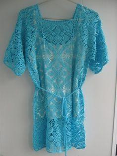 Delicadezas en crochet Gabriela: Turquesa crochet túnica .. Otra idea aquí