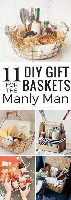 11 Best Gift Basket Ideas For Him ⎜Creating a gift basket for him can be a difficult task. This post will give you some inspiration on how to curate great gift baskets for men! Gift Basket Ideas for Men ⎜Gift Baskets for Boyfriends ⎜Gift baskets for Father's Day ⎜Anniversary Gift Basket Ideas #giftbasketideas #giftsforhim #giftsfordad