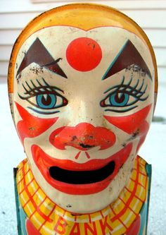 vintage clown bank....any clown is spooky