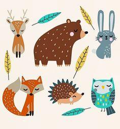 natur animals Hand drawn autumn for - natur Forest Animals, Woodland Animals, Autumn Animals, Forest Drawing With Animals, Safari Animals, Nature Animals, Animal Drawings, Cute Drawings, Drawing Sketches