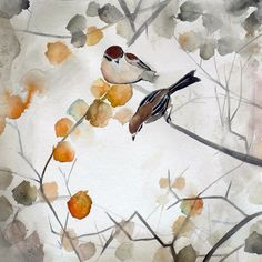 Autumn Bird Art - Asian Art - Animal Art - Fall - 8x8 Giclee Print by Christine Lindstrom via Etsy