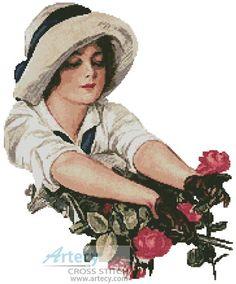 Roses - Cross Stitch Chart : Artecy Cross Stitch Shop, Quality Cross Stitch Patterns to print online. Small Cross Stitch, Cross Stitch Rose, Victorian Cross Stitch, Celtic Alphabet, Dame Chic, Stitch Shop, Certificate Design, Cute N Country, Little Stitch