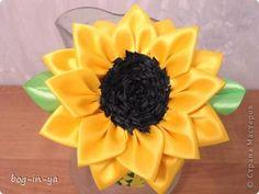 SUNFLOWER TUTORIAL Master class, crafts, product Tsumami Kanzashi: Again kanzashi - Sunflowers small MK tapes.  Photo 1