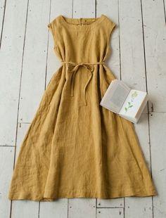 Beautiful earth coloured linen dress