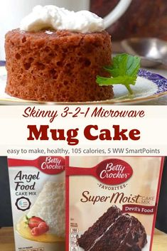Watchers 3 2 1 Microwave Mug Cake Weight Watchers Microwave Mug Cake made with your favorite cake mix - just 105 calories and 5 WW Freestyle SmartPoints! via Weight Watchers Microwave Mug Cake made with your favorite cake mix - just. Weight Watcher Desserts, Weight Watcher Mug Cake, Weight Watchers Kuchen, Weight Watchers Meals, Weight Watchers Brownies, Angel Cake, Angel Food Cake, Mug Recipes, Cake Recipes