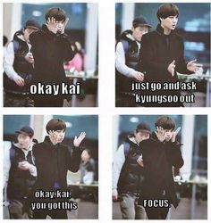 most cutest of all cutest things for Kaisoo Shippers, when Kai try to ask Kyungsoo out and this is what Kai do YASSS! Kaisoo, Kyungsoo, Chanyeol, Exo Couple, Xiuchen, Kim Minseok, Meme Center, Exo Memes, Kpop Exo
