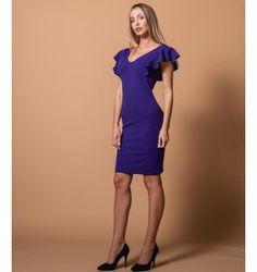 Mini Φόρεμα Κρεπ με V και Βολάν - Βιολετί Dresses For Work, Purple, Black, Fashion, Moda, Black People, Fashion Styles, Purple Stuff, Fasion