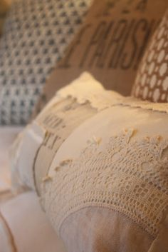 ~a pillow made from my Grandmas lace~lots on this blog you would love !!!