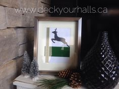 Cute little DIY project.  Reindeer clip art with ribbon trim, framed.
