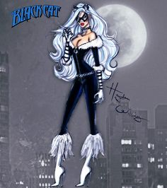Hayden Williams Fashion Illustrations   Marvel Divas by Hayden Williams : The Black Cat