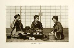 1904 Print Japanese Women Kimono Meal Lunch Rice Miso Soup Tea Asia Orient XGDD3 - Period Paper