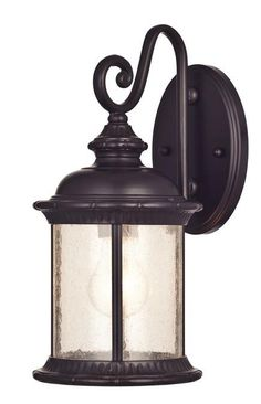 New Haven One-Light Outdoor Wall Lantern, Oil Rubbed Bronze Finish on Steel with Clear Seeded Glass