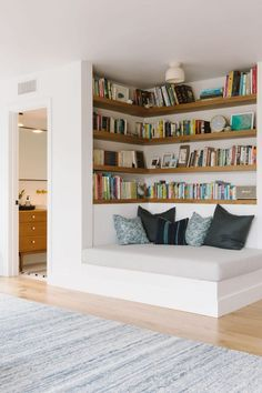 house interior: Samantha Gluck Emily Henderson Playroom Reading Co. house interior: Samantha Gluck Emily Henderson Playroom Reading Co. Minimal House Design, Minimal Home, Small House Interior Design, Simple Home Design, Home Library Design, Library In Home, Dream House Interior, Small Space Design, Dream Library