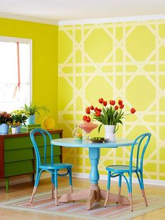A palette of bold colors and do-it-yourself paint projects give this dining room a fresh look. We choose two shades of blue for the table and chairs and created a two-tone effect to add interest to the furniture. Separate the painted and non-painted portions of the chairs and table with painter's tape. Semi-gloss paint works best on furniture because of its easy-to-clean finish, so apply several coats.