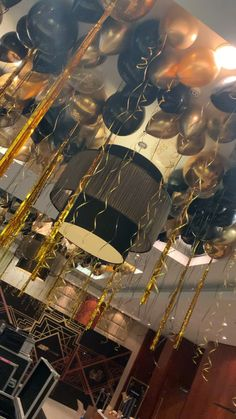 Black and gold balloon ceiling with orbz balloons and tassel tails - Best Zodiac/Astrology Party Theme images Black And Gold Party Decorations, House Party Decorations, Birthday Balloon Decorations, 18th Birthday Party Ideas Decoration, Birthday Ideas, Black And Gold Balloons, Black And Gold Theme, Black Gold Party, Gold Birthday Party