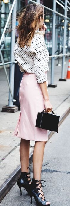 #spring #fashion | Polka Dot + Light Pink Pu Leather High Waisted Midi Skirt | Alexa Chung