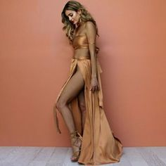 WRAP TWO PIECE GOWN IN SUEDED SILK FOREST – Sisters The Label