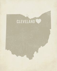 I Love Cleveland Ohio - Wood Block Art Print