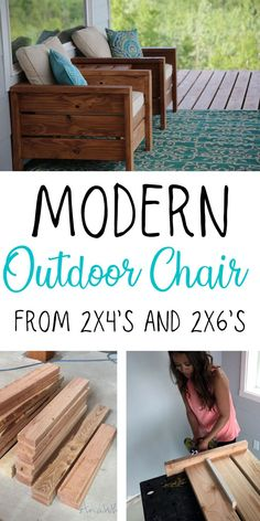 Modern Outdoor Chair made from and wood projects projects diy projects for beginners projects ideas projects plans Resin Patio Furniture, Outdoor Furniture Plans, Building Furniture, Backyard Furniture, 2x4 Furniture, Palette Patio Furniture, Backyard Chairs, Patio Furniture Makeover, Patio Furniture Cushions