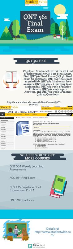 Want study tools of QNT 561 Final Exam? Go to the online portal Studentwhiz for having the righteous tools of QNT 561 Final Exam and find QNT 561 Final Exam 30 Questions, QNT 561 Week 2 learning team assignment, QNT 561 week 2 Quiz answers and QNT 561 week 4. http://www.studentwhiz.com/Online-Courses/QNT-561/1093/
