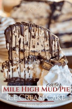 Outrageously easy, Mile High Mud Pie Ice Cream Cake has cool ice cream layered between rich fudge with an amazing chocolate cookie crust! Ice Cream Pies, Ice Cream Desserts, Frozen Desserts, Holiday Desserts, Ice Cream Recipes, Frozen Treats, Icebox Desserts, Christmas Recipes, Thanksgiving Ice Cream