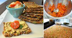 Pan de zanahoria y semillas ::: 1 taza de semillas de lino. 1/2 taza de lino molido. 2 tazas de zanahoria procesada o rallada. 1/2 taza de semillas de calabaza. 1/2 taza de semillas de girasol. 1 cucharadita de sal. 1 1/2 taza de agua.  Mezclar la zanahoria con el resto de los ingredientes. Agregar el agua lentamente hasta obtener una masa. Reposar 10 minutos. Estirar bien la mezcla en bandejas. Hornear a temperatura muy baja hasta que esté seco. Debe quedar flexible y crujiente.