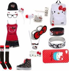 Hello Kitty outfits at target Hello Kitty Outfit, Hello Kitty Clothes, Swag Outfits, Outfits For Teens, Cool Outfits, Scene Kids, Hello Kitty Collection, Hello Kitty Wallpaper, Young Fashion