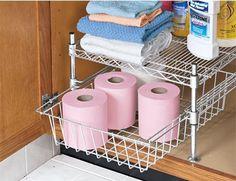 Walmart Under Sink Storage Under Sink Organization, Under Sink Storage, Diy Kitchen Storage, Storage Cabinets, Diy Storage, Bathroom Organization, Bathroom Storage, Bathroom Ideas, Organized Bathroom