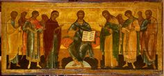 little, old icon of the Lord's Throne surrounded by Virgin Mary, John the Baptist, Archangels, and Apostles Hermitage Amsterdam, Day Of Pentecost, Bible Society, John The Baptist, Catholic Saints, Holy Family, Orthodox Icons, More Icon, Ikon