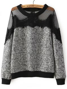 Shop Black Round Neck Sheer Mesh Lace Sweatshirt online. SheIn offers Black Round Neck Sheer Mesh Lace Sweatshirt & more to fit your fashionable needs.