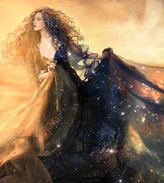 "Aurora/Eos/Ushas - goddess of the dawn, illumination, awakening & growth. She wards off the evils of the dark & is the path to Truth. ""Daybreak"" by Pat Brennan"