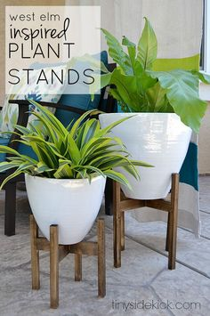 West Elm Inspired Wooden Plant Stands- Such a great way to add instant height and style to your pots and you could use these indoors too!