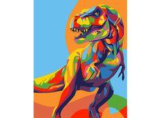Картина по номерам, раскраска по номерам, paint by numbers, оригинальный подарок, Артвентура, мини-раскраска - Радужный динозавр - Zvetnoe.ru - картины по номерам