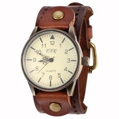 b8bdc808220 2014 New Unisex Vintage Punk Genuine Leather Bracelet Wrist Watch with Wide  Band Big Dial Watch
