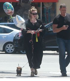 Adele with her dog, Louie, at Santa Monica, CA