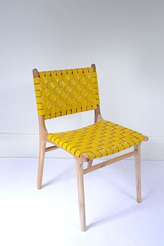 Danish Leather Strapping Chair - Yellow