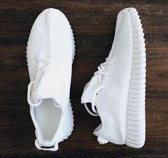 All white yeezys