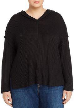 Aqua Curve Waffle-Knit Hoodie Top Curvy Plus Size, Waffle Knit, Autumn Fashion, Aqua, Fashion Dresses, Men Sweater, Hoodies, Knitting, Sweaters