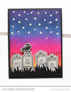Grave Situation Stamp Set and Die-namics, Frightful Friends Stamp Set, Stars in the Sky - Vertical Die-namics - Kimberly Crawford  #mftstamps