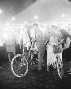 An outdoor getaway, like these vintage cruiser bikes, is a super-fun option for a spring wedding, and makes for some seriously cute photo ops.