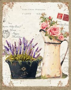 An image of Lavender with a teapot - paint and art Decoupage Vintage, Decoupage Paper, Vintage Paper, Floral Vintage, Vintage Flowers, Vintage Prints, Vintage Pictures, Pretty Pictures, Foto Transfer