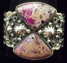 Vintage Cuff   Albert Cleveland (Navajo). Nickel silver with Pink Crazy Lace Agate.