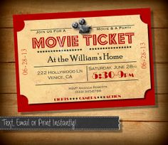 Movie Night Invitation Movie Party by PixelPerfectShoppe on Etsy, $5.00