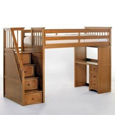 I'm pretty sure THIS is the bed we're getting for each of the boys...Schoolhouse Stairway Loft Bed - Pecan - Loft Beds at Simply Bunk Beds