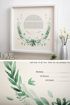 This Ketubah is unique and it will impress all the guests. It is Giclée printed on a fine art paper of the highest quality. The watercolor graphic is a gorgeous composition, perfect for your wedding. The Ketubah is a fine art piece, with a modern design. ♥♥♥ DIMENSIONS: ★ 15 x 15 inches (38.1 x 38.1 cm) ★ 18 x 18 inches (45.7 x 45.7 cm) ★ 20 x 20 inches (50.8 x 50.8 cm) ★ 22 x 22 inches (55.8 x 55.8 cm) ★ 24 x 24 inches (60.9 x 60.9 cm) Wedding Crafts, Diy Wedding, Garden Wedding, Wedding Ideas, Botanical Wedding Theme, Wedding Vows, Wedding Locations, Fine Art Paper, Wedding Bouquets